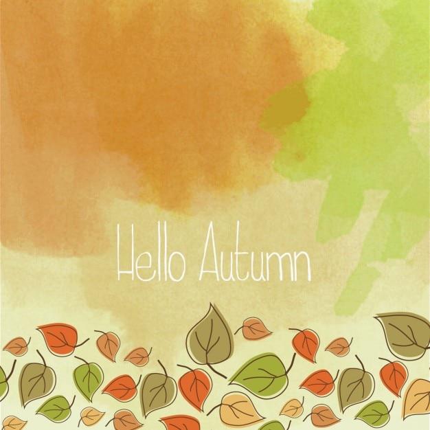Bonjour automne fond d'aquarelle Vecteur gratuit