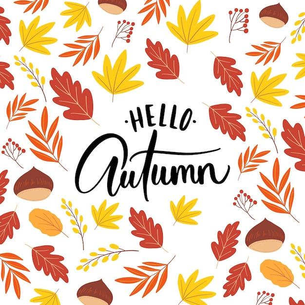 Bonjour L'automne - Lettrage Vecteur gratuit