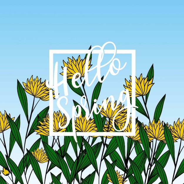 Bonjour bannière du printemps. Vecteur Premium