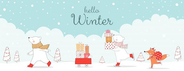 Bonjour bannière d'hiver Vecteur Premium