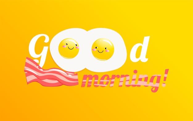 Bonjour La Bannière. Savoureux Petit Déjeuner Classique Composé D'œufs Et De Bacon Vecteur gratuit