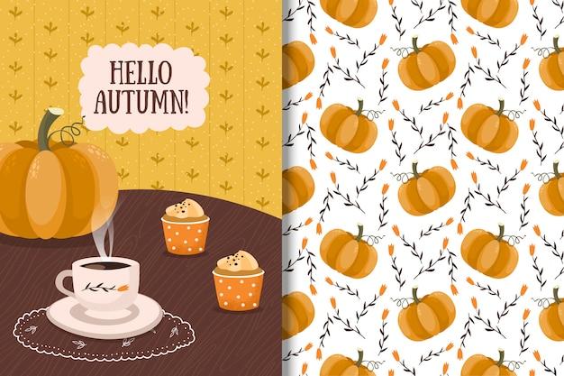 Bonjour carte d'automne et modèle sans couture avec citrouille, café et muffins Vecteur Premium
