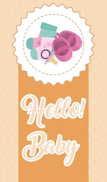 Bonjour carte bébé Vecteur Premium