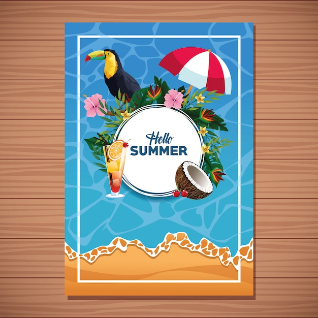 Bonjour la carte de l'été sur fond en bois Vecteur gratuit