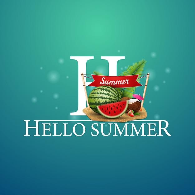 Bonjour Carte Postale D'été Vecteur Premium