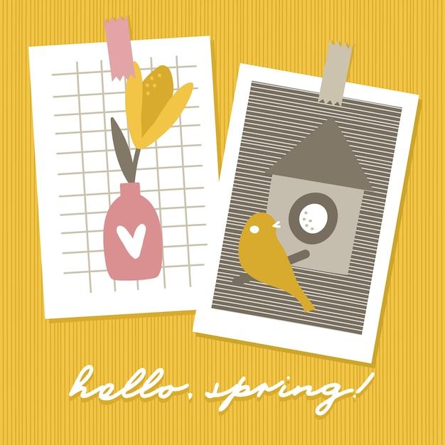 Bonjour les cartes de saison du printemps. Vecteur Premium