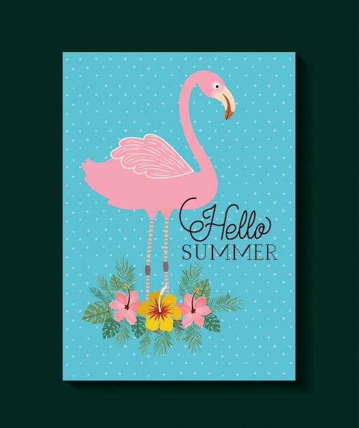Bonjour conception de cartes d'été et de vacances Vecteur Premium