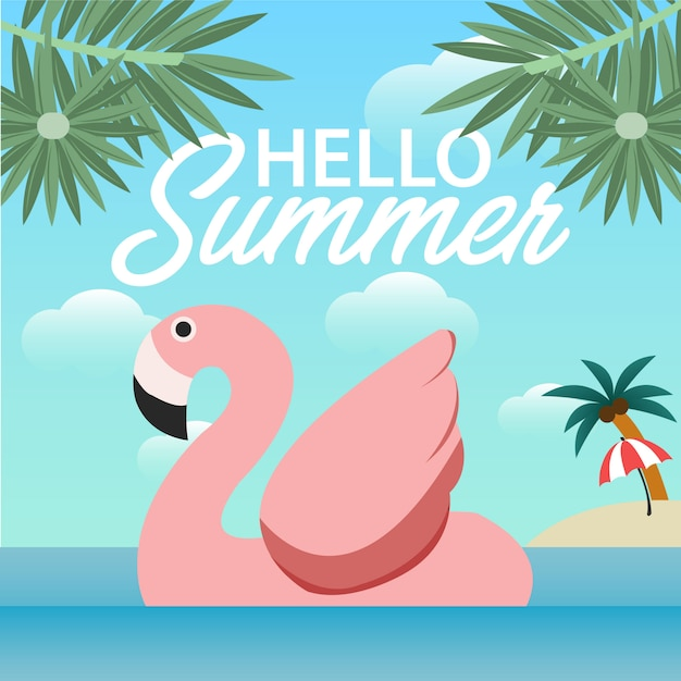 Bonjour conception de bannière d'été Vecteur Premium