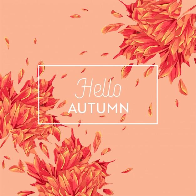Bonjour conception florale aquarelle automne avec feuille d'érable. automne saisonnier Vecteur Premium