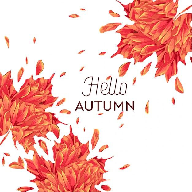 Bonjour conception florale aquarelle automne avec feuille d'érable. Vecteur Premium
