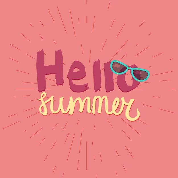 Bonjour été. affiche aquarelle typographique de vacances et de voyage avec des lunettes de soleil cool. vect Vecteur Premium