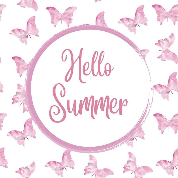 Bonjour été. aquarelle cadre arrondi avec des papillons Vecteur Premium