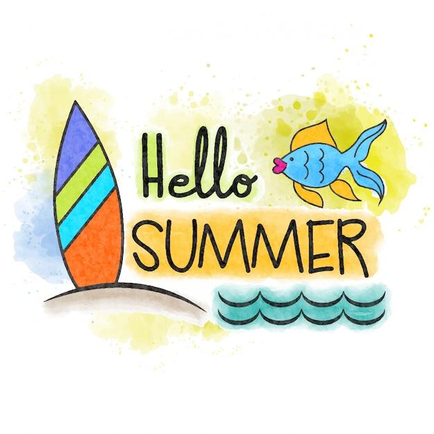 Bonjour été. bannière aquarelle marine Vecteur Premium