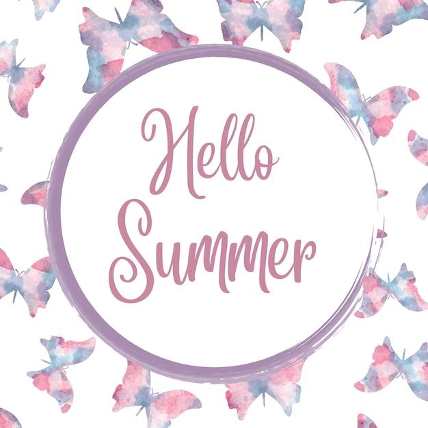 Bonjour été. bannière aquarelle avec des papillons Vecteur Premium