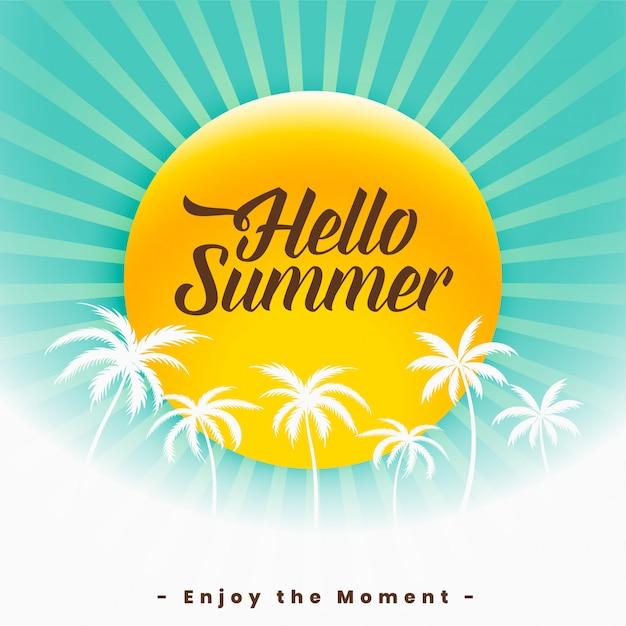 Bonjour l'été beau fond Vecteur gratuit