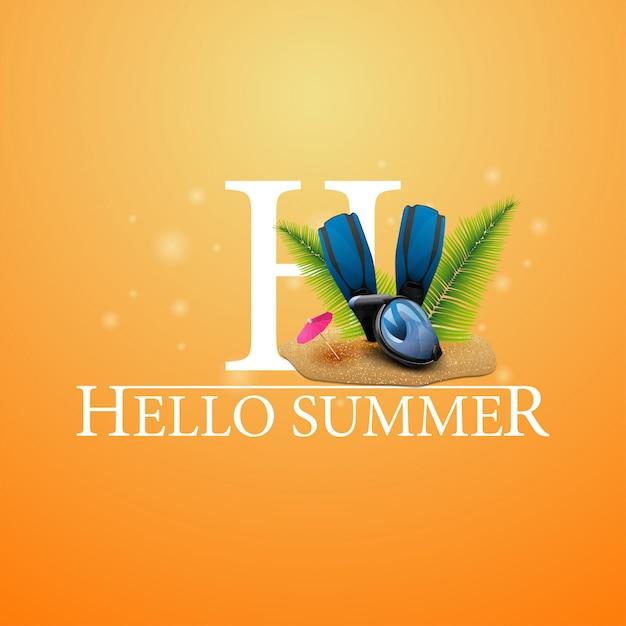 Bonjour l'été, carte postale orange avec masque de plongée, palmes et palmes Vecteur Premium