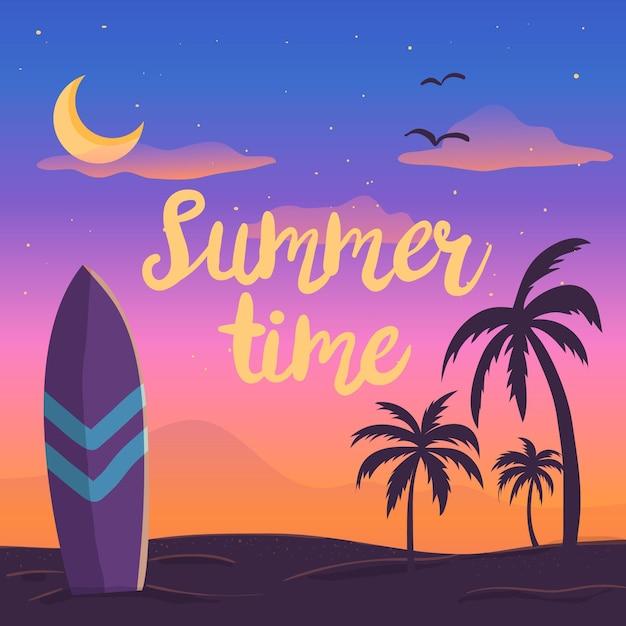 Bonjour L'été Avec Coucher De Soleil Sur La Plage Vecteur gratuit