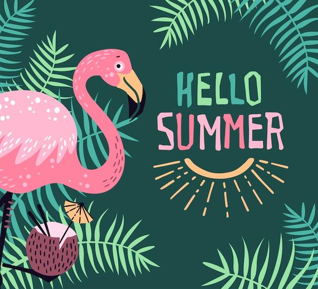 Bonjour été. flamant mignon de vecteur avec un cocktail tropical Vecteur Premium