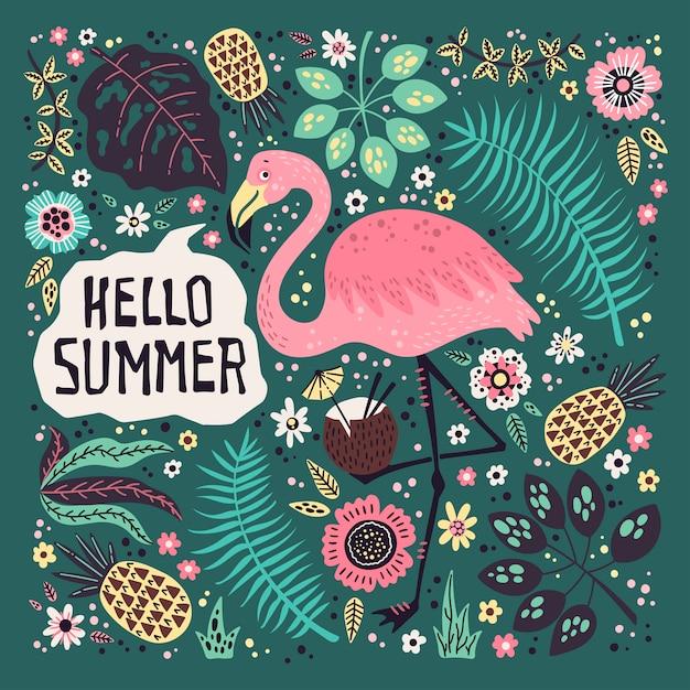 Bonjour été. flamant mignon de vecteur entouré de fruits tropicaux, de plantes et de fleurs. Vecteur Premium