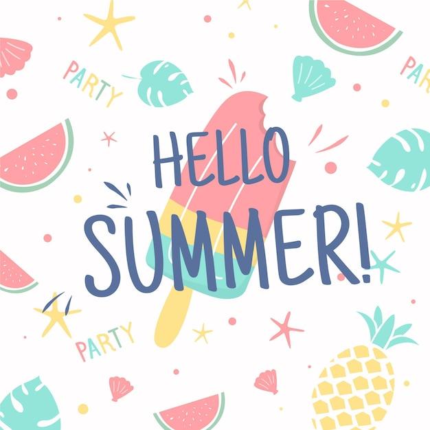 Bonjour L'été Avec De La Glace Et Des Fruits Vecteur gratuit