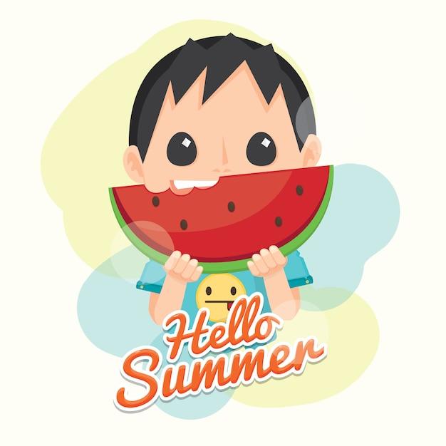 Bonjour l'été avec la pastèque fraîche et le garçon mignon. Vecteur Premium
