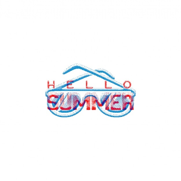 Bonjour l'été signe rétro Vecteur Premium