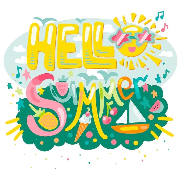 Bonjour l'été tropical Vecteur Premium