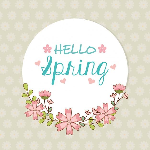 Bonjour étiquette de printemps avec couronne de fleurs Vecteur Premium