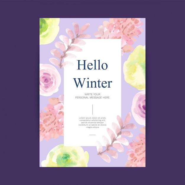 Bonjour fond aquarelle hiver avec attributs d'hiver Vecteur Premium