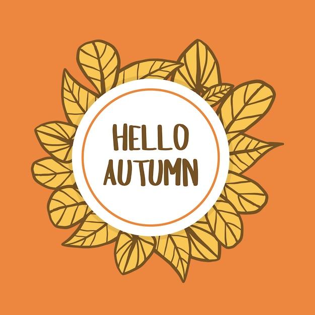 Bonjour fond d'automne Vecteur Premium