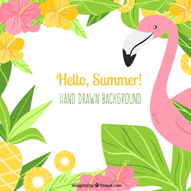 Bonjour fond d'été avec flamant et plantes Vecteur gratuit
