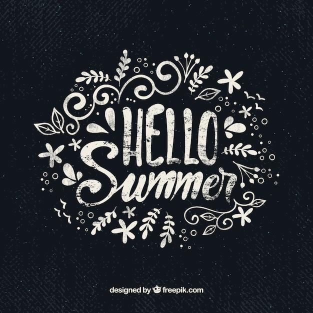 Bonjour fond d'été avec lettrage Vecteur gratuit