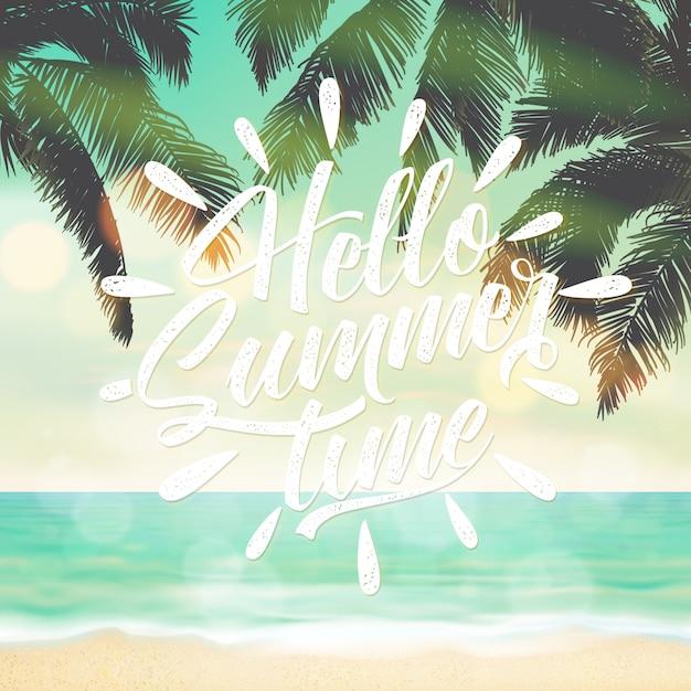 Bonjour fond d'été avec paysage de plage Vecteur Premium