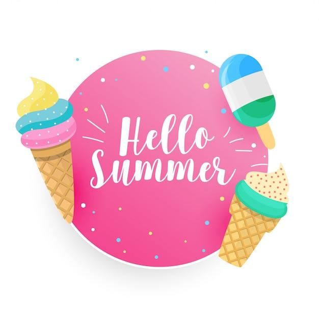 Bonjour fond de glace d'été Vecteur gratuit