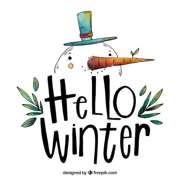 Bonjour fond d'hiver avec un bonhomme de neige dessiné à la main Vecteur gratuit