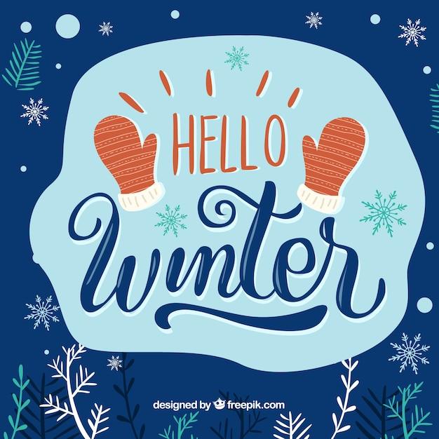 Bonjour fond d'hiver avec des mitaines rouges Vecteur gratuit