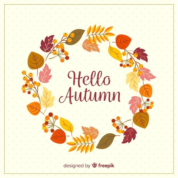 Bonjour fond de lettrage automne Vecteur gratuit