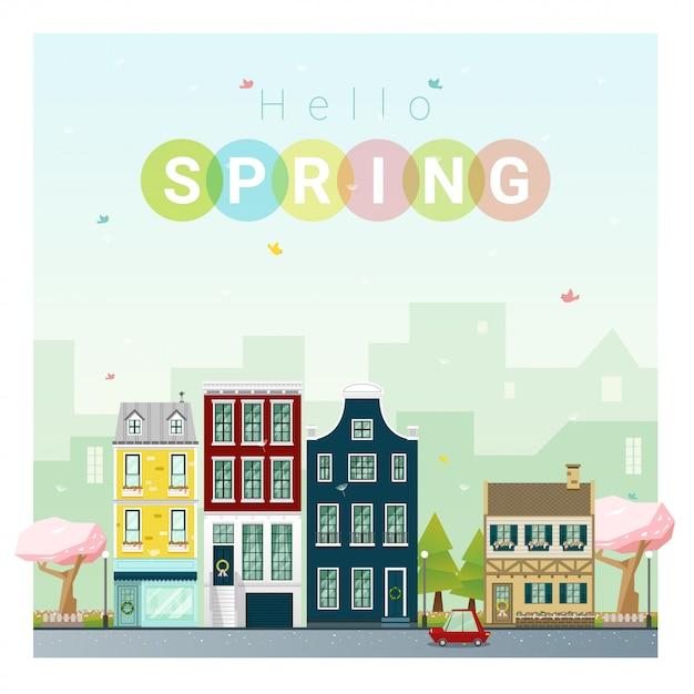 Bonjour fond de paysage urbain printemps Vecteur Premium