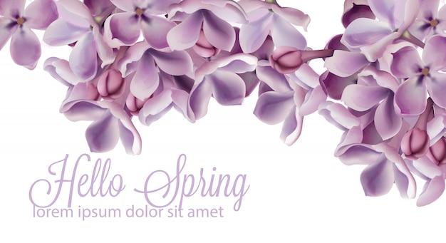 Bonjour fond de printemps avec aquarelle fleurs lilas mauve Vecteur Premium