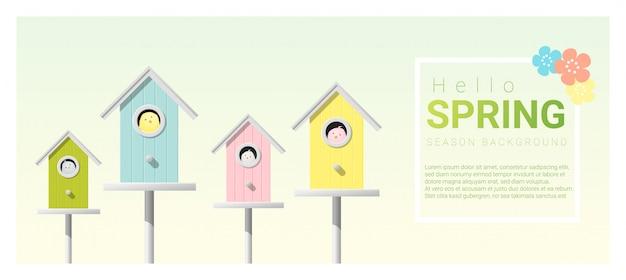 Bonjour fond de printemps avec des petits oiseaux dans des nichoirs Vecteur Premium