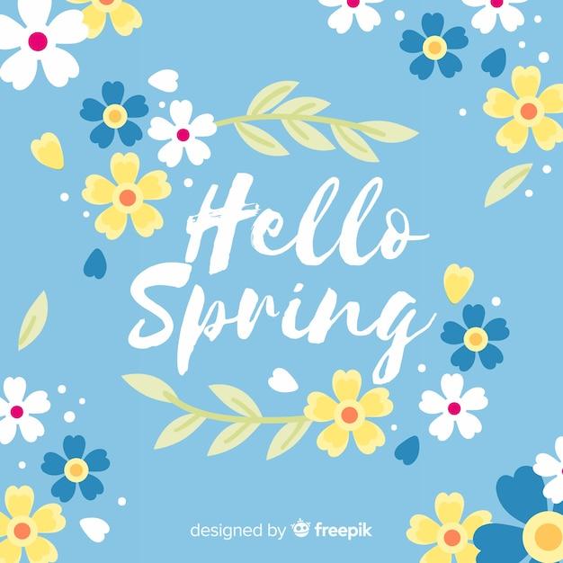 Bonjour fond de printemps Vecteur gratuit