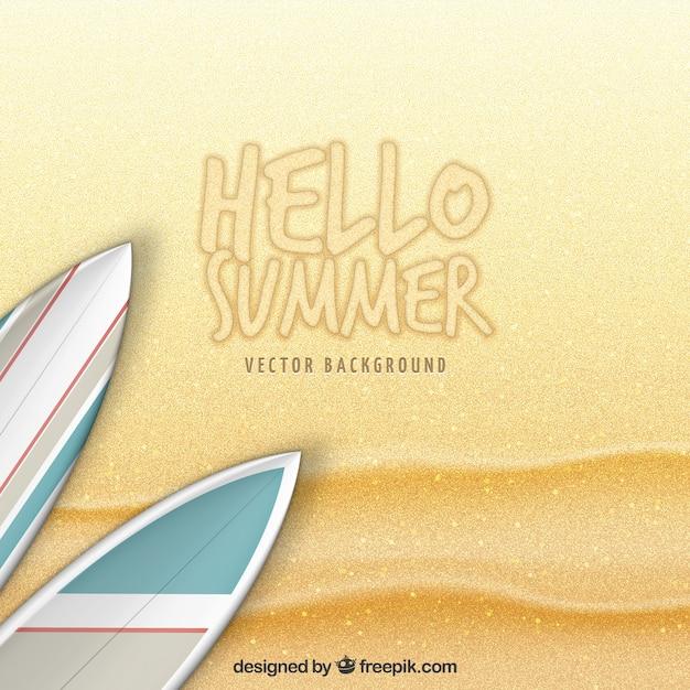 Bonjour fond de sable d'été Vecteur gratuit