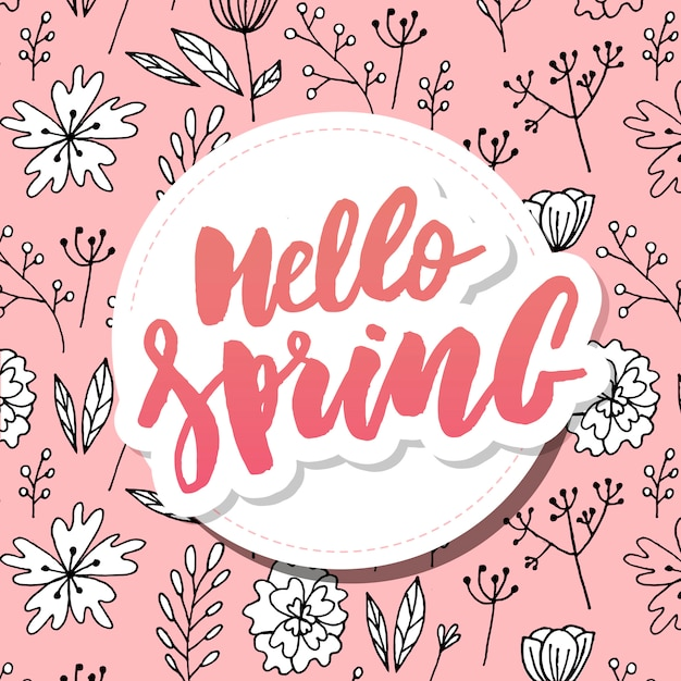 Bonjour fond de vente de printemps avec belle fleur Vecteur Premium