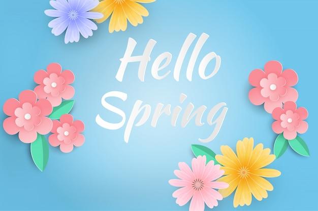 Bonjour fond de vente de printemps avec de belles fleurs en papier. Vecteur Premium