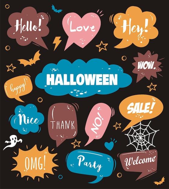 Bonjour Halloween Sur Bulle De Dialogue Comique