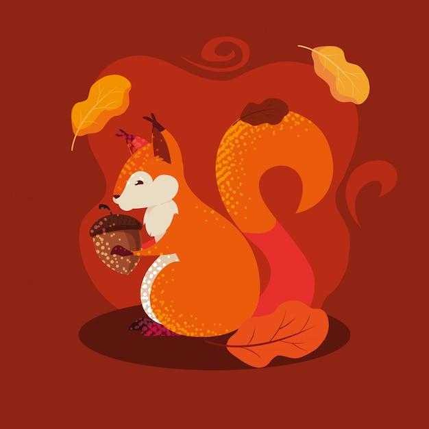 Bonjour illustration d'automne avec tamia et noix Vecteur Premium