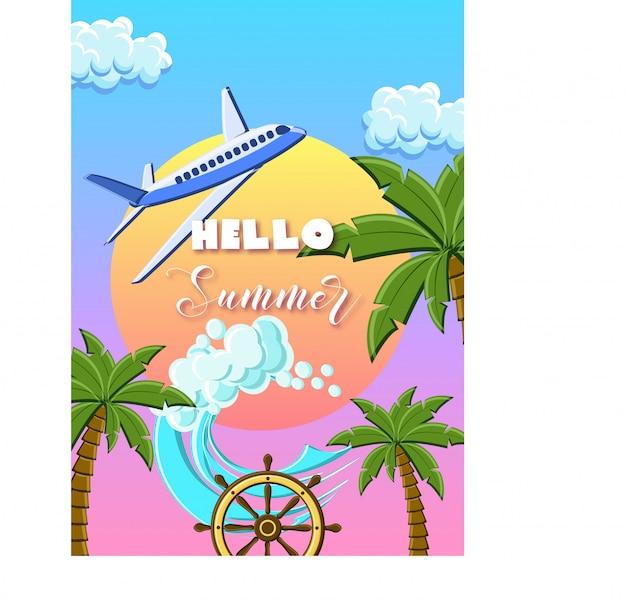 Bonjour illustration de l'été avec des palmiers, avion, vagues de l'océan, roue de bateau, sur le ciel coucher de soleil. Vecteur Premium