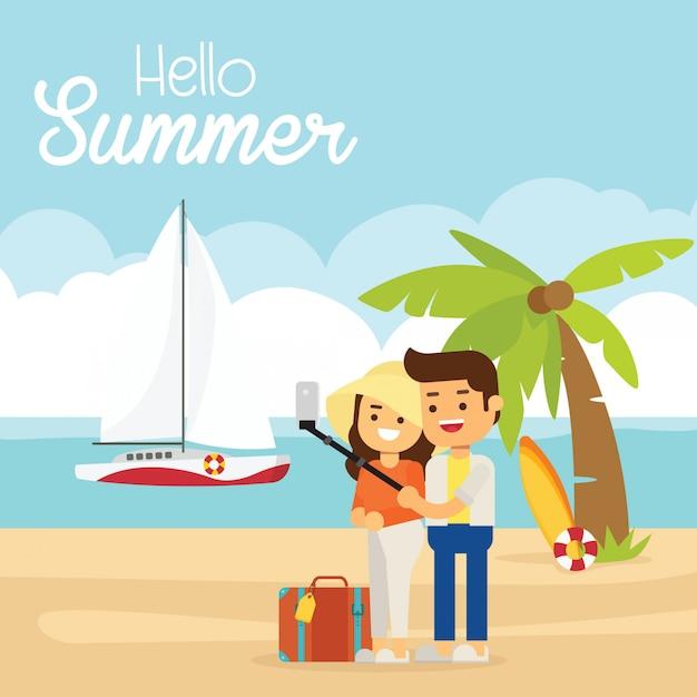 Bonjour illustration de l'été, plage de coucher du soleil. la mer, les yachts, les palmiers et le couple Vecteur Premium