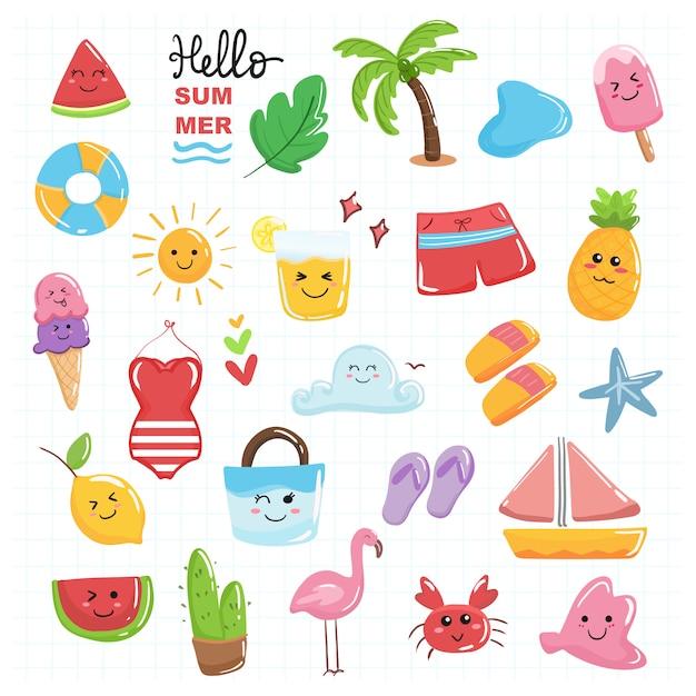 Bonjour kawaii mignonne collection été sertie de couleur pastel thème plage. Vecteur Premium
