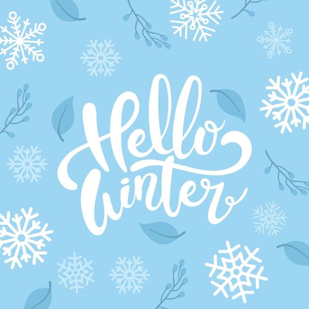 Bonjour lettrage concept hiver Vecteur gratuit
